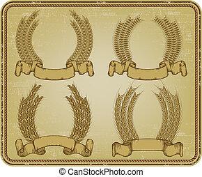 Wreath of wheat, set. Vector illustration.