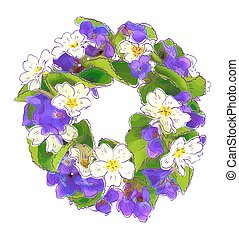 Wreath of woodland violets and primula.
