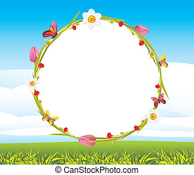 Wreath on the landscape background