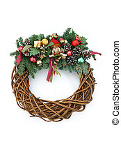 A Christmas wreath isolated on a white background.