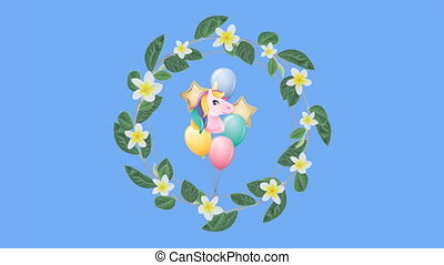 Animation of multi coloured balloons flying and wreath with flowers on blue background. Celebration fun entertainment concept digitally generated image.