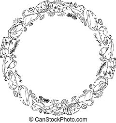 Wreath Round Frame of Popular Steak Types. Steak House Restaurant Menu. Hand Drawn Illustration. Savoyar Doodle Style. Porterhouse, T-bone, New York Strip, Rib Eye.