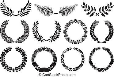 Wreath set (wreath collection, laurel wreath, oak wreath, ...