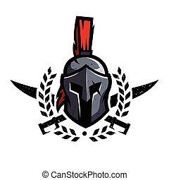 Wreath, swords and helmet of the Spartan warrior.