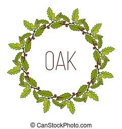Wreath with aleppo oak branch. Hand drawn botanical vector ...