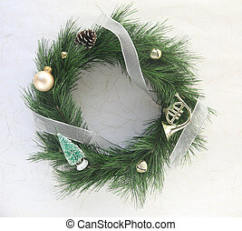 wreath with bells and ornaments