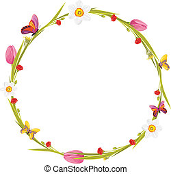 Wreath with butterflies and flowers - Wreath with...