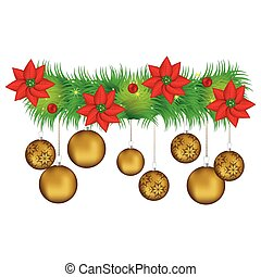 Wreath with christmas flowers and golden garlands