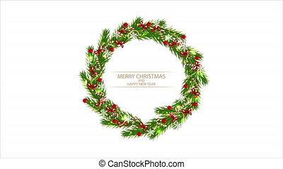 Wreath with christmas tree, art video illustration.