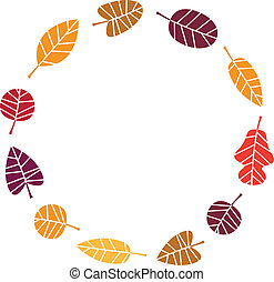 Wreath with colorful Autumn leaves isolated on white