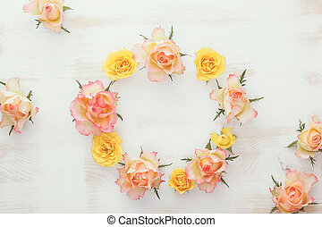 Wreath with fresh roses