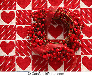 wreath with red berries and hearts