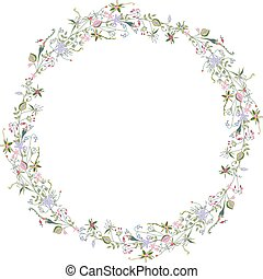Wreath with stylized summer flowers.