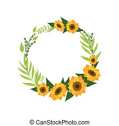 Wreath with Sunflowers, Floral Round Border with Flowers and Leaves, Design Element For Greeting Card, Invitation, Banner Vector Illustration