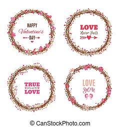 wreathes., valentine's, set, giorno