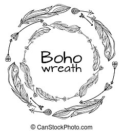 Wreaths of hand drawn feathers with boho pattern and doodle...