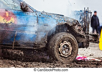 Wreck car dirt race on muddy track