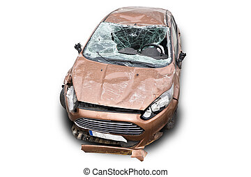 Wreck Car on White Background