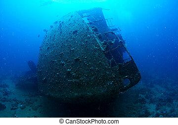 Wreck Chrisula K - Ship wreck Chrisula K underwater. Red...