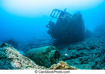 Wreck diving - Picture shows a boat wreck in Turkey