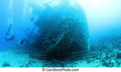 Wreck Gainis D - Ship wreck Gainis D and divers. Red Sea.