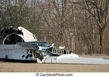 Wreck of a crashed aircraft