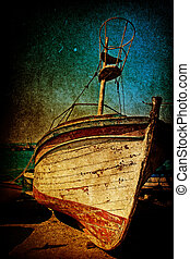 Wreck of rusty antique boat in grunge style - Wreck of one...