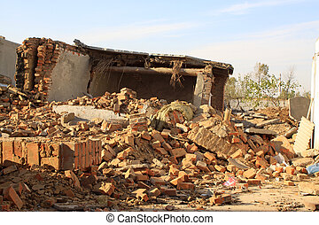 wreck of the wall after earthquake disaster