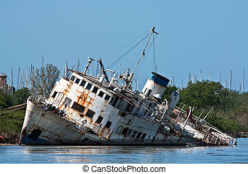 Documentary - wreck on the Tiber river, Fiumicino, Italy.