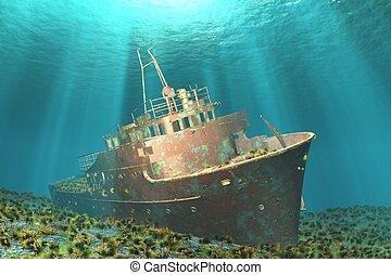 wreck - Boat wreck illustration image