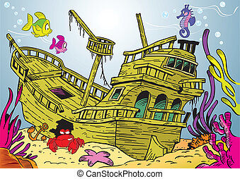 The illustration shows a sunken ancient ship. On lies on the ocean floor, around the swimming fish and seaweed.