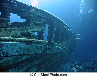 wreck - Underwater landscape with boat fragments. The Red...
