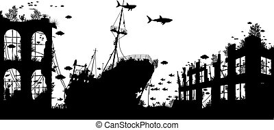 Wreckage reef - Editable vector foreground silhouette of...