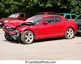 wrecked - auto accident, truck hit right front