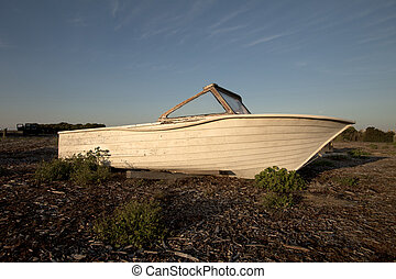 Wrecked boat on the beach