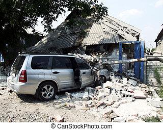 Wrecked Car - littered car