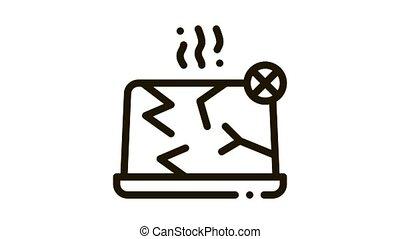 Wrecked Laptop Icon Animation. black Wrecked Laptop animated icon on white background