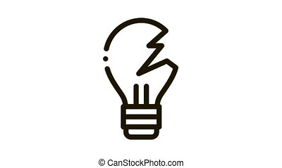 Wrecked Lightbulb Icon Animation. black Wrecked Lightbulb animated icon on white background
