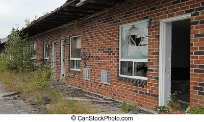 Wrecked motel. - Wrecked motel with light breeze. Ontario,...