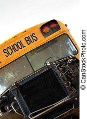 Wrecked School Bus - Wrecked school bus with smashed...