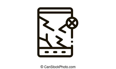 Wrecked Tablet Icon Animation. black Wrecked Tablet animated icon on white background