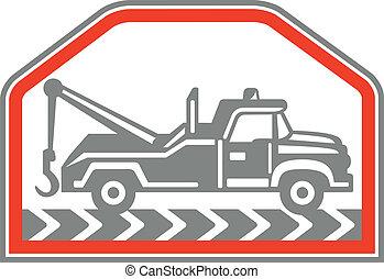 wrecker, côté, camion, retro, remorquage