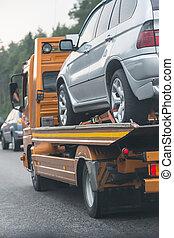 wrecker, cassé, transports, voiture