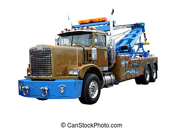 This is a picture of a heavy duty wrecker used for towing semi trucks. Isolated on white.