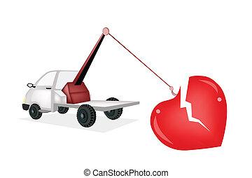 Wrecker Tow Truck Pulling A Red Broken Heart - An...