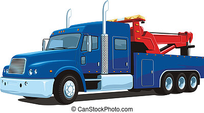 Wrecker - Vector isolated heavy wrecker, tow truck on white...