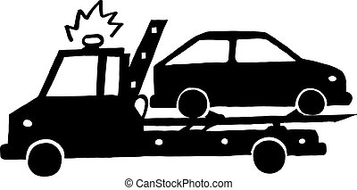 Wrecker with car - Ink image of wrecker with car on white...