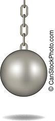 Wrecking ball in dark silver design on white background