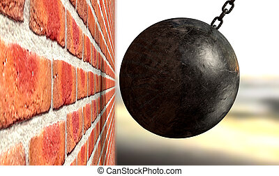 Wrecking Ball Hitting Wall - A regular metal wrecking ball...