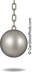 Wrecking ball in dark silver design on white background